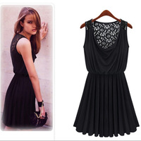 2014 new Promotions trendy fashion women clothes casual sexy lace dress sleeveless retro sultry vestidos WF-472