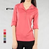 Fashion women's long-sleeve slim open neck basic t-shirt basic shirt chromophous mm plus size