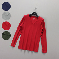 Fashion women's spring basic 100% V-neck all-match cotton long-sleeve t-shirt plus size available