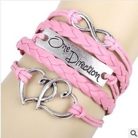Min Order $10(mix items)Free Shipping!Fashion Jewelry Vintage Temperament 8 characte Heart Multilayer Leather Bracelet D131