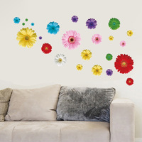 5set/lot Wholesale 24pcs Removable PVC Decorative Flowers For Wall Decal & Transparent Colorful Flowers Wall Decals