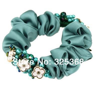 Lots of 12PCS Elegant Soft Cotton Velvet Hair Scrunchies elastic Spring Flower Hair Bands Ponytail Holder Wholesale(China (Mainland))