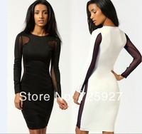 wholesale Novelty 2014 Women sexy bandage dress party Lace patchwork wrap hip Bodycon Dress club bodysuit