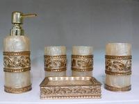 Fashion palace style emblama  column resin bathroom set of 5 pieces luxurious bathroom supplies house-warming  wedding gift box