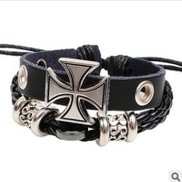 Min Order $10(mix items)Free Shipping!Retro Vintage Hot Sellers Personality Rome Cross Multilayer Leather Bracelet For Men D145