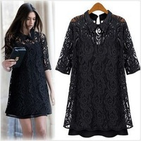 New 2014 Black V-neck slim long sleeve lace dress,sweet lace hollow splice sexy skirtone-piece dress female fashio S-XXXL WF-478