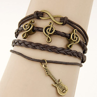 Min Order $10(mix items)Free Shipping!Fashion Vintage Temperament Musical notation Letter  Multilayer Leather Bracelet D140