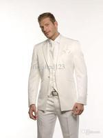 2014 New Design One button Ivory Notch Lapel Groom Tuxedos Groomsmen Best Man Suit Men Wedding Suits Bridegroom Suit(Jacket+Pant