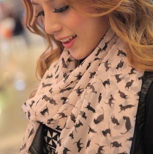 Free shipping!2014 new Korean winter long silk chiffon scarf shawl wholesale and female cat!#M220(China (Mainland))
