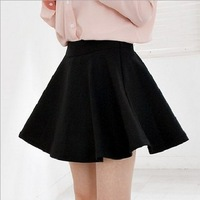 Spring Korean Style Womens Ladies Solid High Waist Pleated Retro Skirt