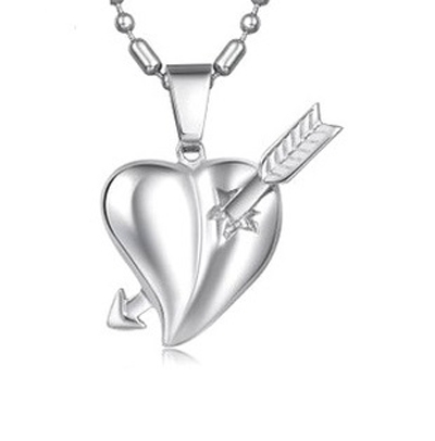 Love Cupid arrow piercing a heart shaped pendant male style titanium steel necklace Wholesale fashion jewelry