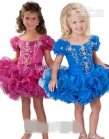 New Cap Sleeves Fuschia Pink Organza Beading Girl's Pageant Gowns Junior Bridemaid Dresses
