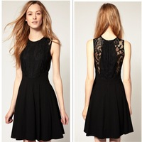 New Arrival 2014 Women Casual Dress Fashion Black Patchwork Lace Embroidery Knee Length Dress Summer Pleated Woman Dress