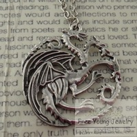 Men Jewelry Game Of Thrones Silver Dragon Drop Chain Necklace Hot Sale Europe America Targaryen Hollow Chain Pendant Necklaces