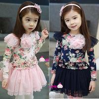 2014 Vestido Infantil Children's Clothing Female Child Autumn Little Flower Girl Tulle Dress Print Hot-selling 100% One-piece