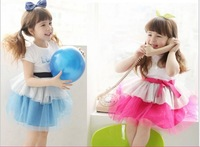 2014 summer one-piece dress female child short-sleeve dress tulle dress bow belt tulle dress