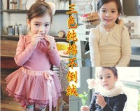 Winter children's clothing winter female child long-sleeve basic shirt child solid color plus velvet thickening top