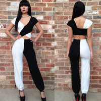 2014 club night big jumpsuit sexy low-cut backless black and white color matching conjoined trousers R014