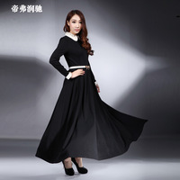2014 spring new arrival black turn-down collar slim ultra long sleeve dress full dress long  skirt