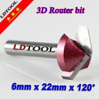 3 pcs Width 22 mm ( 60D  90 120D) 3D V Wood Router Bits Cnc Tool Cutting MDF Plywood Cork Plastic Acrylic PVC Clean Angle Blade