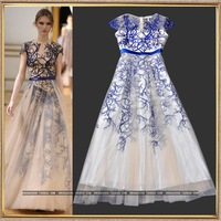 Runway show 2014 female star style embroidery tantalising expansion bottom white gauze full dress  dress