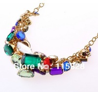 Free Shipping,2014 New Arrived Gold Zinc Alloy Colorful Crystal Multilayer Statement Choker Chain Pendant Necklace For Woman