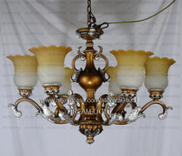 free shiping european 6 light antique pendant lamp/ resin lamp shade and antique copper pendant light