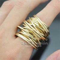 Men Amazing Gold Multi Band Twist Puzzle Russian Style Wide Finger Ring Biker Jewelry Free Shipping