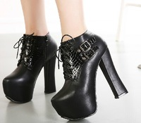 Fashion Cuban Heel Platform Womens Faux Suede Military Lace Up Ankle Boot Shoes