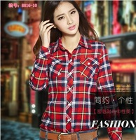 Free Shipping Spring And Autumn Long Sleeve Plus Size Slim Cotton Women Blouses Turn Down Collar Sueding Plaid Shirt C1437
