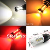 Free Shipping, 2pcs 80W 7440 7443 T20 W21W WY21W High Power 16 LED Car FRONT/REAR Turn Signal Light Bulb Amber/Red/White 12V 24V