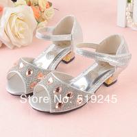 New 2014 Children/Kids Sandals for Girls Princess Girls Sandals High-heeled Latin Dance Summer Shoes for Girls Free ShippingA124