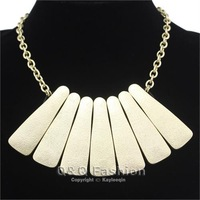 Fab Gold Egypt Cleopatra Style Frosted Fan Chain Collar Statement Bib Necklace Jewelry Free Shipping