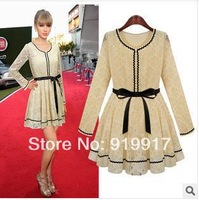 USA New Spring 2014 Long Slim Lace Apricot Black Dress Temperament Dress High-end Fashion Dress Promotion S/M/L/XL