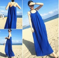 new 2014 swimming suit for women blue chiffon long beach summer Halter style slip dress beachwear