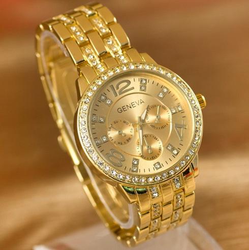 Geneva Watch Full Steel Watches Women dress Rhinestone Analog wristwatches men Casual watch 2014 Ladies Unisex Quartz watches(China (Mainland))