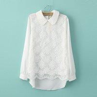 2014 women's spring peter pan collar long-sleeve lace top slim organza chiffon shirt basic shirt