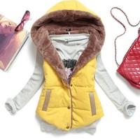 2014 new  down vest   women slim vest  velvet  waistcoat  thermal cotton with a hood plus size female 6 colors full size