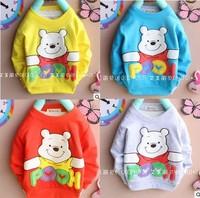 Free shipping 2014 Spring  Autumn Baby boys long sleeve cartoon bear t shirt children's long-sleeved t-shirt A023