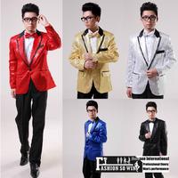 2014 New Arrival evening men's dress pure sequins prom dresses party show suits 5 Color Size: M-XL