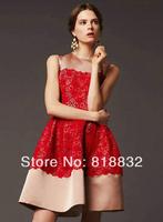 Free Shipping New 2014 Spring European Fashion Vintage Women Patchwork Dress Lace Embroidery Slim Waist Elegant  Dresses