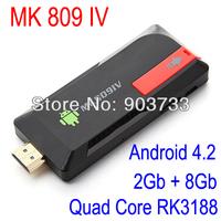 MK809 IV Quad Core TV Box Stick Media Player Google Android 4.2.2 RK3188 2GB RAN 8GB WIFI 1080P HDMI Smart TV Dongle MK809IV