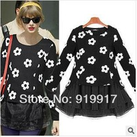 Brand United States 2014 Spring Dress False Two Piece Black Woollen Flower Printing Cute Dress Wholesale S/M/L/XL