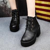 2014 women's fashion thick heel boots platform martin boots high-heeled boots women's pumps shoes
