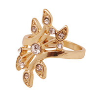 Free Shipping 2014 New Arrival Items Cheap Trendy Jewellery For Women Party Crystal Gold Ring 140302