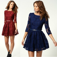 3 Color Womens Lace Dress 2014 New Fashion Spring & Summer Cute Flowers Half Sleeve Dresses With Belt for Women Free Shipping