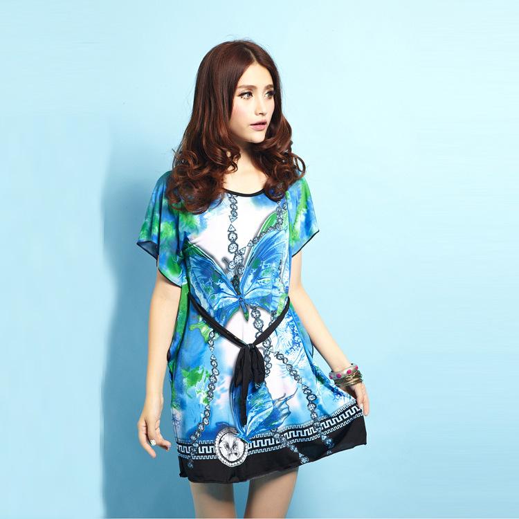 2014 Fashion Girl Print Dress Brand Blue Dress Plus Size Girls Cute Dress Summer Women Brief Dress(China (Mainland))