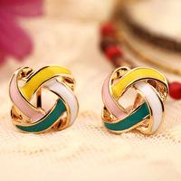 New 2014 candy-colored earrings Korea earrings multicolor geometric upholstered no pierced ear clip stud Fashion jewelry women 0