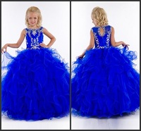 Floor Length Long Royal Blue Tulle Ruffle Ball Gown Jewel Neckline Shimmering Crystals Beaded Girls' Beauty Pageant Dresses