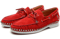 New 2014 Fashion Spiked Rivets Women Sneakers Brand Lace-up Women Flats Suede Red Bottom Shoes